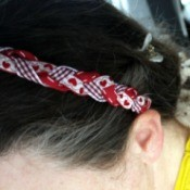 Revamp an Old Headband with Ribbon - top view of headband being worn