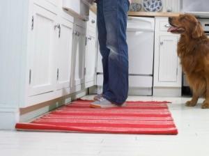 Throw rug on a kitchen floor.