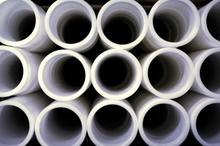 White PVC pipes.