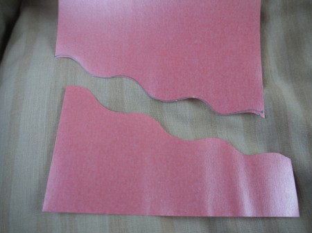 Greetings Card With Stickers - diagonally cut pink paper with wavy top