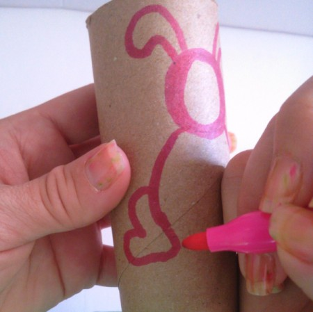 Toilet Paper Tube Easter Bunnies - drawing body and legs