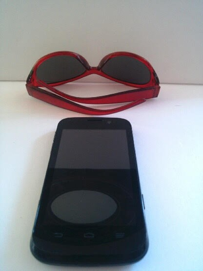 A pair of sunglasses and a cell phone.