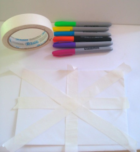 Birthday Card Envelope with Masking Tape Bow - add two horizontal stripes
