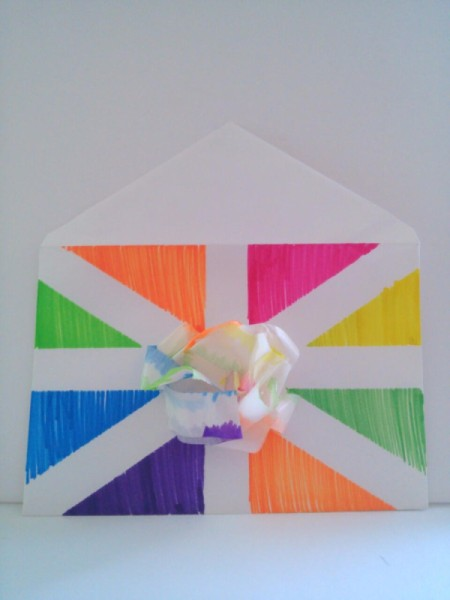 Birthday Card Envelope with Masking Tape Bow - finished envelope