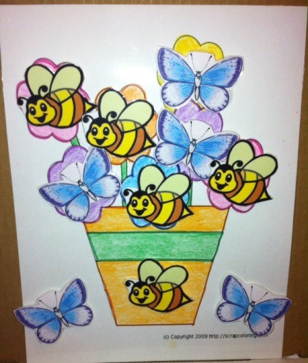 Spring Flowers Fine Motor Coloring and Velcro Activity - child can now create scenes as they like