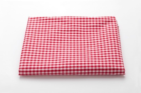 red and white tablecloth