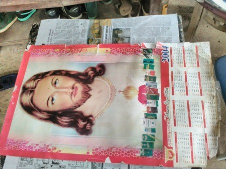Decorating Door Poster with Ribbons - frayed calendar with image of Jesus