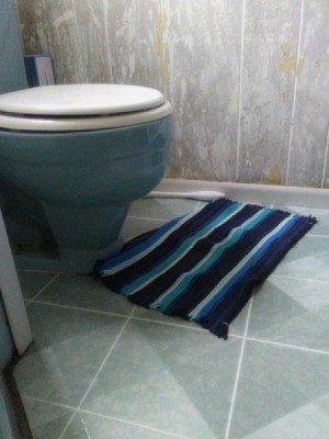 A bathroom with blue fixtures.