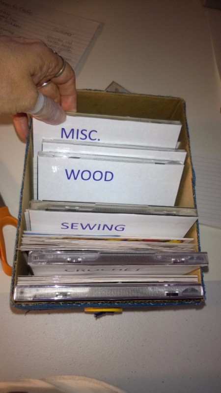 Craft Project Tickler Box - sort craft project cards and begin filing