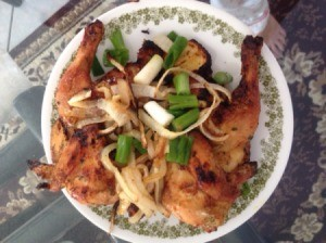 Baked Game Hens on plate