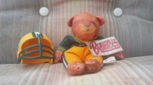 Identifying a Plush Toy - bear wearing green and gold football uniform