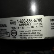 Disposal Not Working and Drain Clogged - disposal tag photo