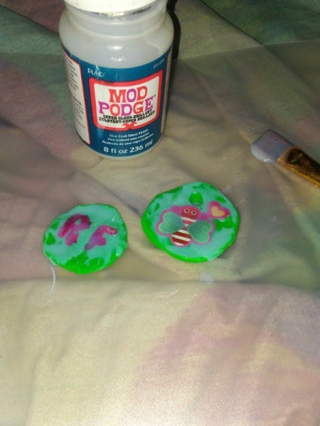 Mod Podge to Preserve Play Doh Creations - bottle of Mod Podge and decorated Play Doh