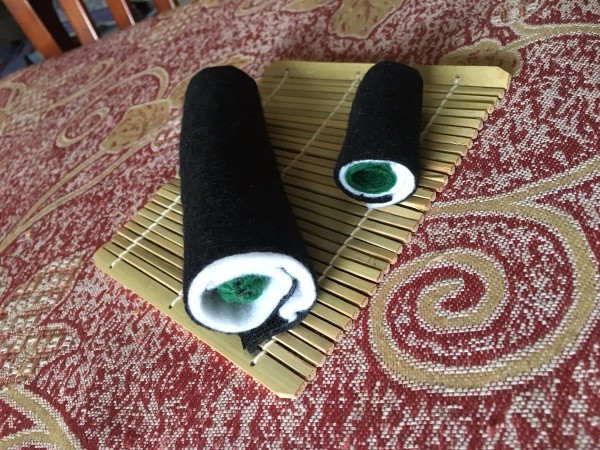 Sushi Plush Toy - two sushi rolls on mat