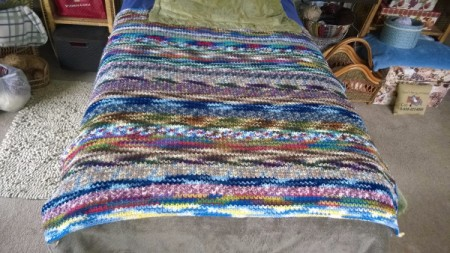 Recycled Yarn Afghan - on day bed