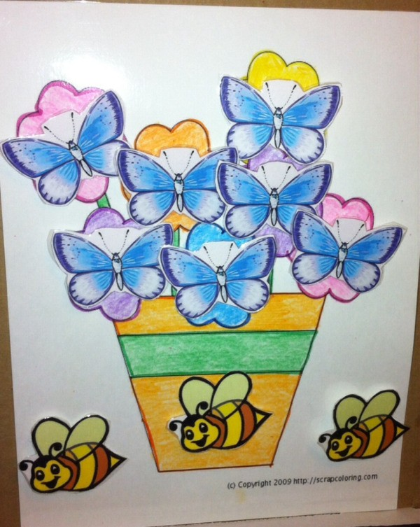 Spring Flowers Fine Motor Coloring and Velcro Activity - activity in use