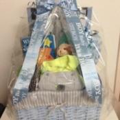 DIY Newborn Baby Gift Basket - finished basket for a boy