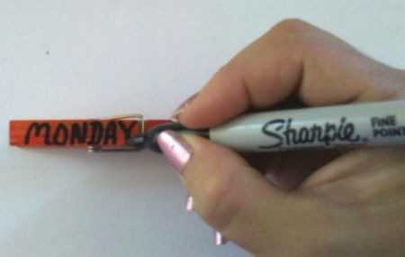 Weekday Clothespins - use a different color marker to write the day of the week