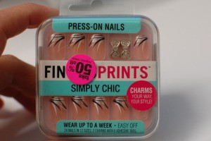 Press-on fingernails with manicure.