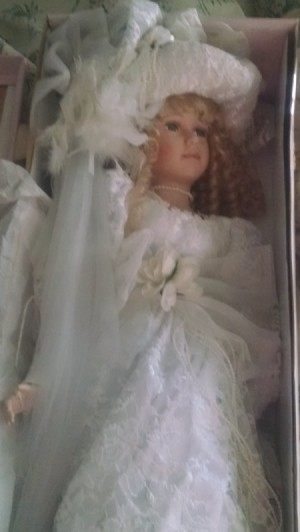 Value and Information for Porcelain Doll - doll in white bridal dress in box