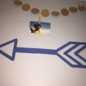 Popsicle Stick Wall Arrow - blue arrow on wall