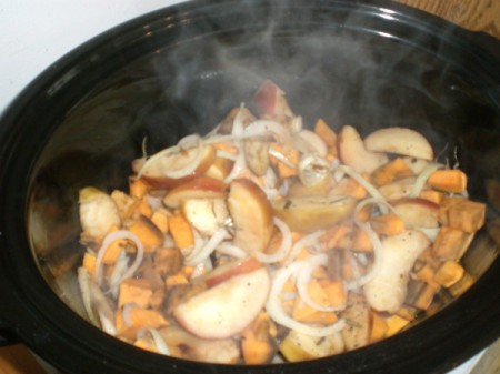 Apple and Sweet Potato cooking in Pot