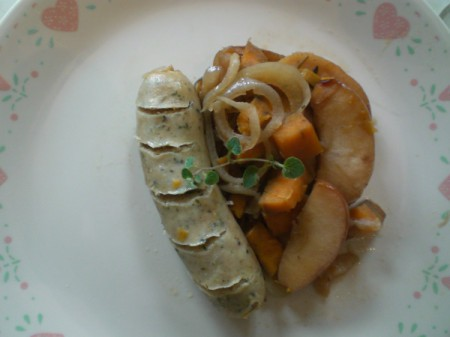 Chicken Sausage, Apple and Sweet Potato on plate