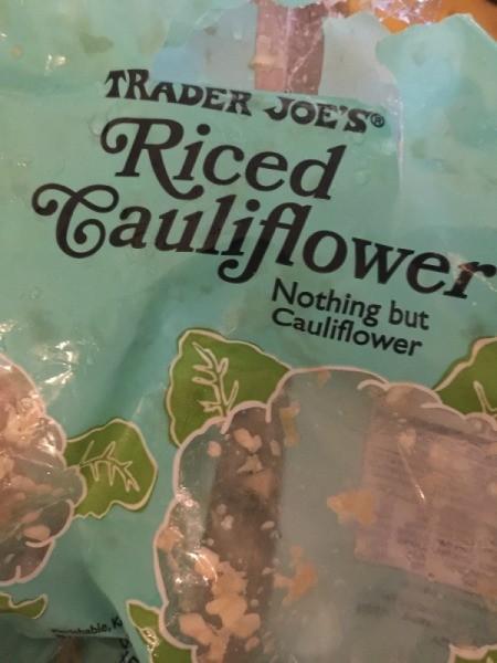riced cauliflower bag