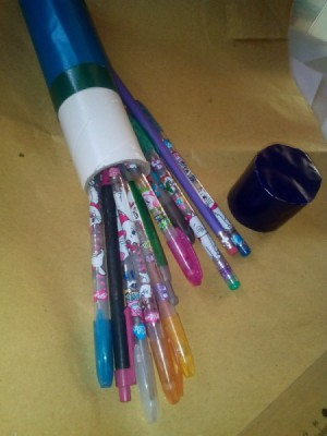 Cling Wrap Roll as Pencil Case - pencil case with spilled pens and pencils