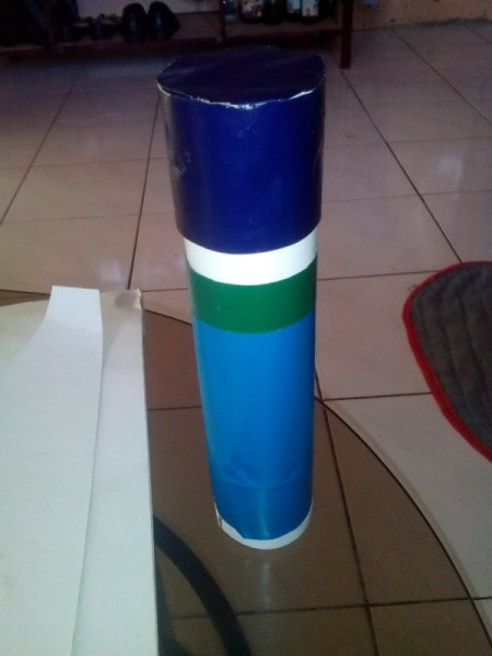Cling Wrap Roll as Pencil Case - case with blue and green paper bands and dark blue top