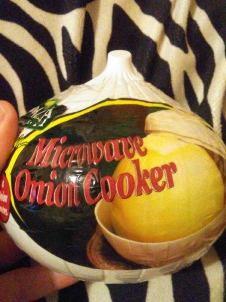 A microwave onion cooker in a package.