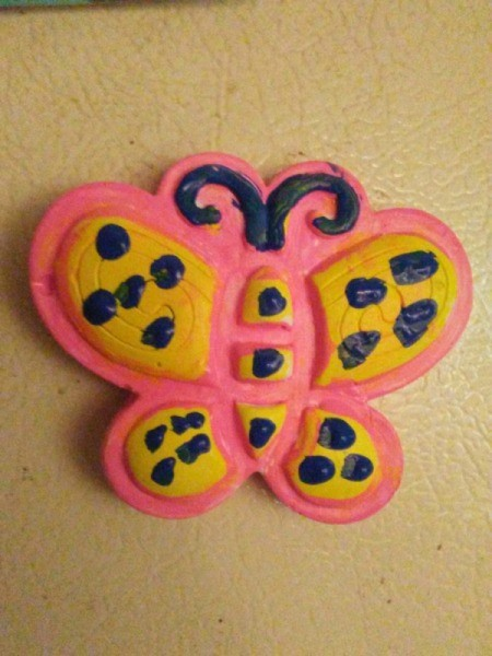 My Dollar General Butterfly - finished butterfly on fridge