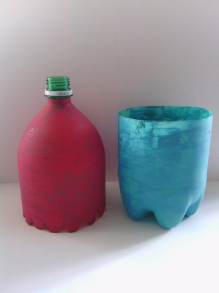 Soda Bottle Bird Feeder - top and bottom painted