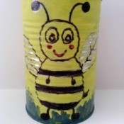 Recycled Bumblebee Can - yellow painted can with bumblebee motif