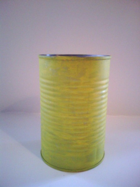 Recycled Bumblebee Can - painted yellow can