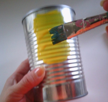 Recycled Bumblebee Can - painting a food can with yellow paint