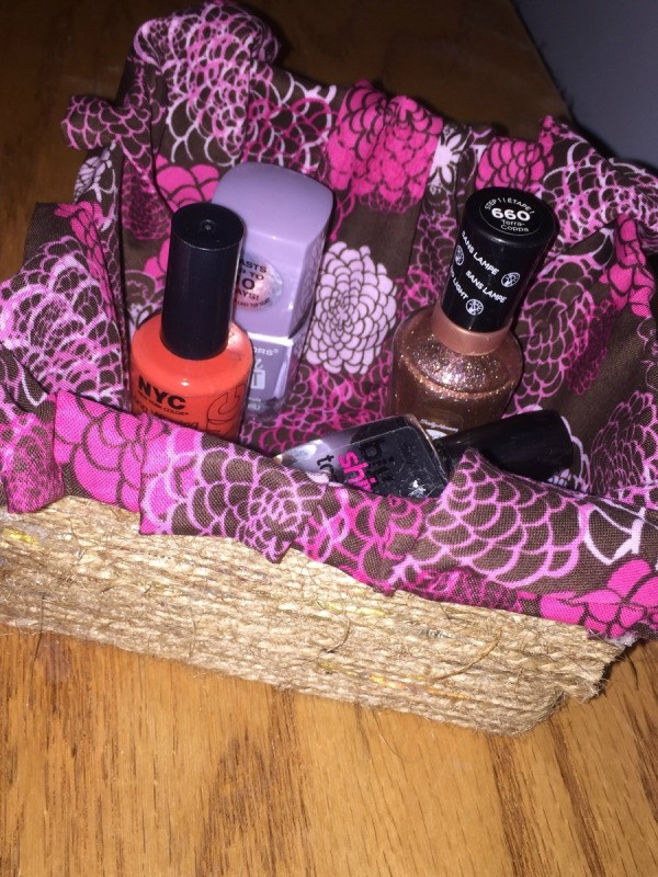 Fabric Covered Recycled Box - bottles of nail polish in box