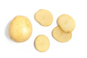 A potato cut into slices.