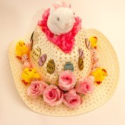 A straw cowboy hat with Easter decorations.