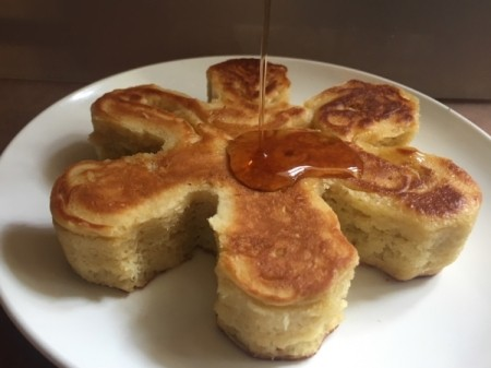 Japanese Style Puff Pancake on plate with syrup
