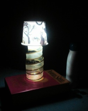 Recycled Noodle Cup Lamp - lit lamp in dark room