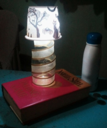 Recycled Noodle Cup Lamp - lit lamp