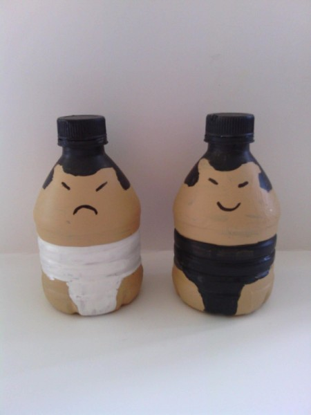 Sumo Wrestler Salt and Pepper Shakers - painted bottles
