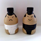 Sumo Wrestler Salt and Pepper Shakers - painted bottles