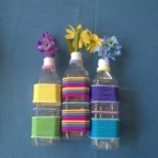 Colorful Hair Tie Vases - three finished vases lying down