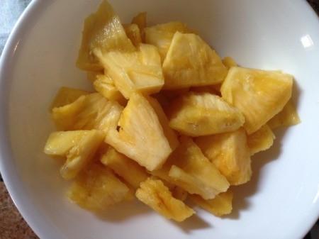 fresh pineapple in bowl