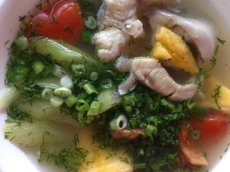 Sweet and Sour Catfish Soup with garnish