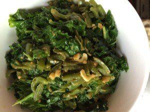 Stir Fry Miso Kale Vegetables in bowl