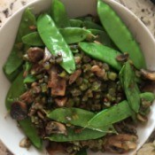 Stir Fry Snow Peas and Mushrooms in bowl