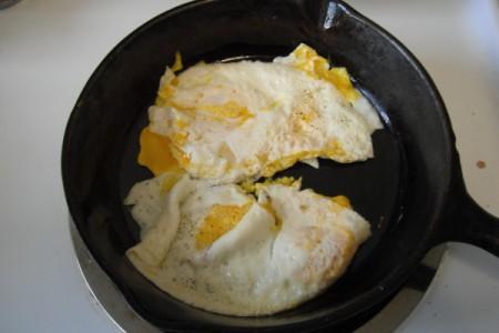 eggs cooking in pan